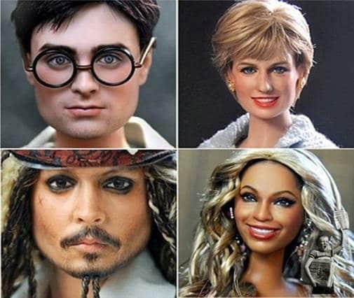 Bambole identiche di personaggi di fantasia e del cinema